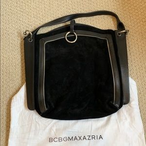 Leather and suede Hobo bag. Black and silver